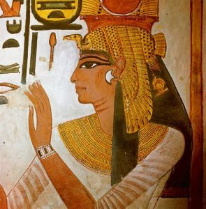 Detail of Mural Painting of Queen Nefertari in her Tomb in the Valley of the Queens