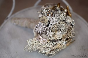 side silver brooch bouquet