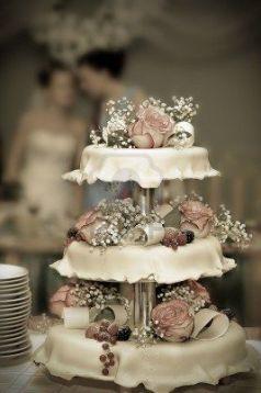 tarta de boda con flores y bayas