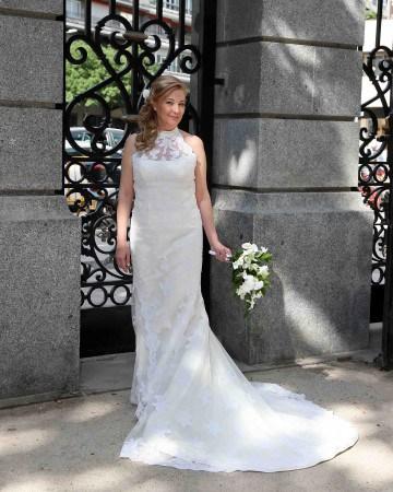 Vestidos de novia cortos cuello halter