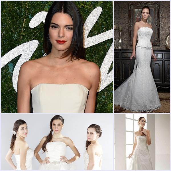 Kendall Jenner luciendo palabra de honor recto y varios vestidos de novia Innovias con igual escote.