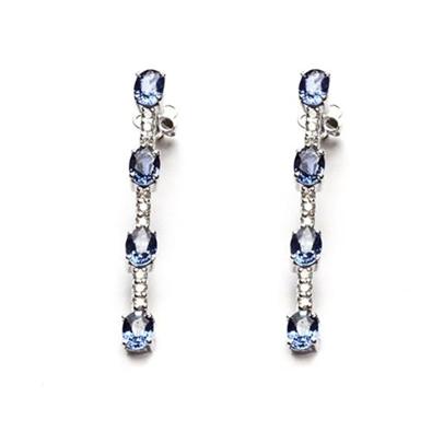 pendientes largos con zafiros y brillantes diamantisimo