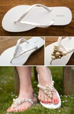 chanclas diy para boda en la playa