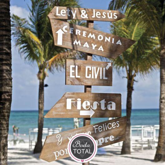 panel indicador boda playa