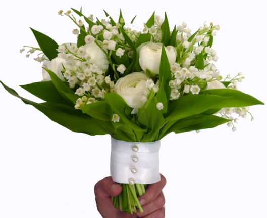 ramo de novia muguet y peonias