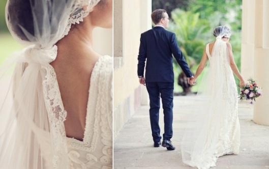velo de novia anudado