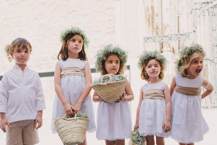 Pequeños pajes de boda. Vía Pinterest.
