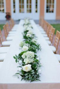 Decoración de mesa comunal de boda al aire libre. Vía Pinterest.