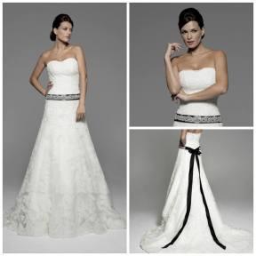 El vestido de novia en alquiler de Innovias con un cinturón con caidas que podrás pedir en el tono que prefieras
