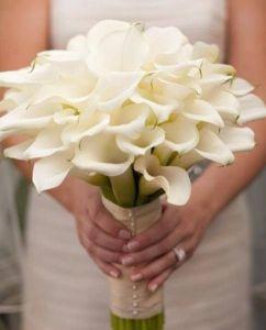 Ramo de novia compuesto por calas blancas. Vía Pinterest.