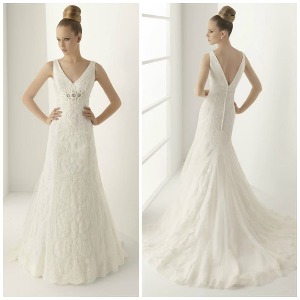 Vestido de novia cola capilla