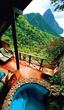Resort en St. Lucía, Caribe. Vía Pinterest.