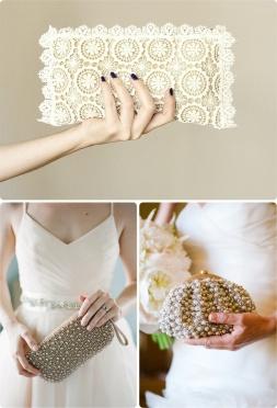 Espectaculares bolsos de mano para novias. Vía Pinterest.