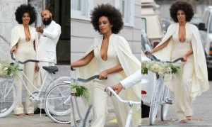Solange Knowles, hermana de Beyonce el día de su boda. Visto aquí.