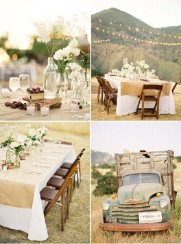 Sencilla y especial boda con decoración vintage. Vía Pinterest.