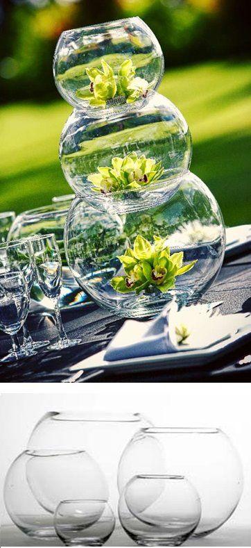 cesntros de mesas con peceras de vidrio va pinterest