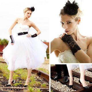 Impresionante novia con complementos de cuero negros. Vía Pinterest.