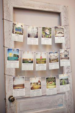 Seating con nombres e imágenes de ciudades para los novios más viajeros. Vía Pinterest.