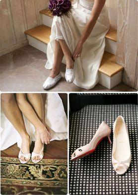 Las novias más prácticas con un zapato plano o un leve tacón. Vía Pinterest.