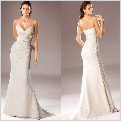 Vestido de novia de venta en outlet por 350 € incluidos arreglos con corte recto escote en V