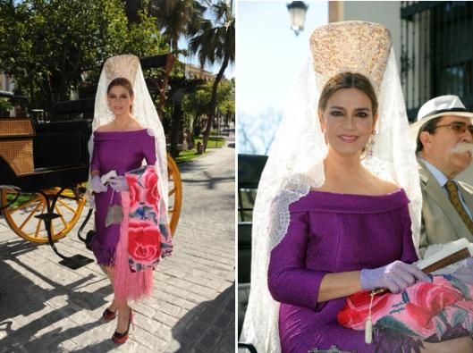 Marina Danko con la mantilla que habría llevado en la boda de su hijo ()