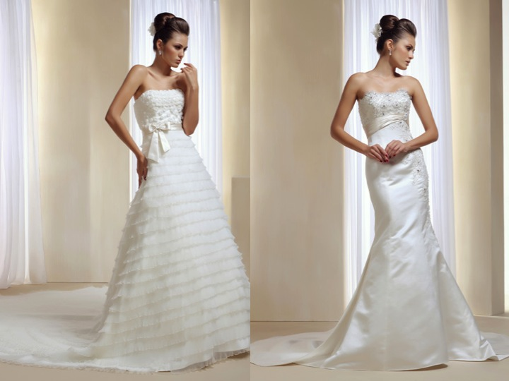 Vestido de novia con cola separada