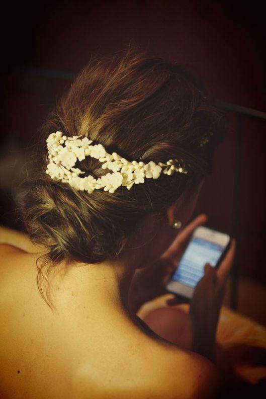 recogido bajo novia con azahar