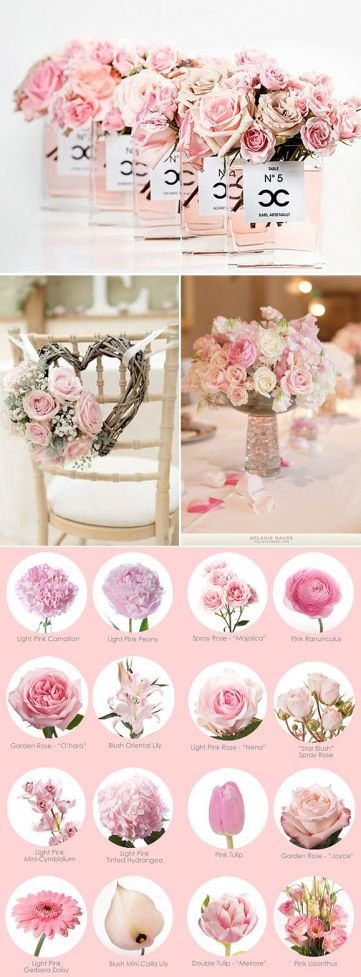 arreglos florales en rosa cuarzo