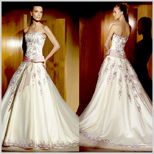 Vestido de novia rosa azul