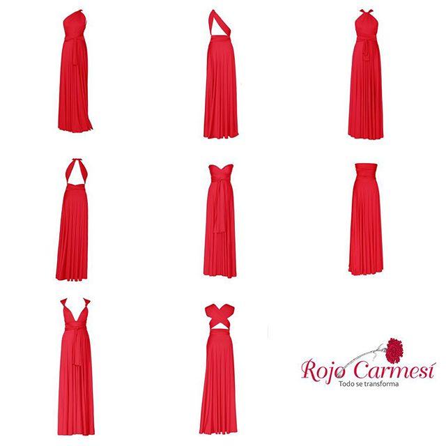 vestido transformable rojo carmesí