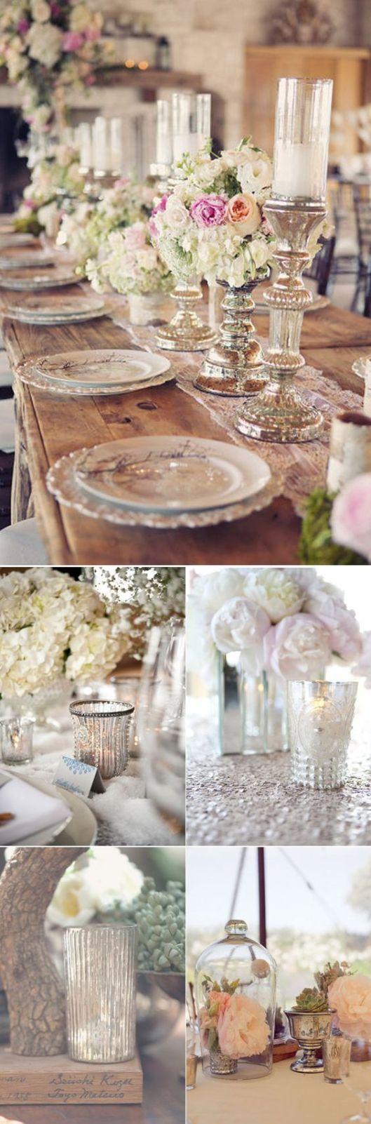 candelabros y flores pastel boda shabby chic