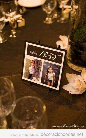 mesas con años y fotos novios