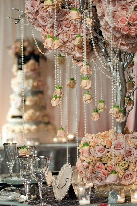rosas y perlas para una decoración shabby chic