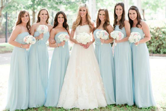 Vestidos para damas de honor color azul cielo