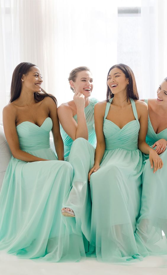 Vestidos de dama de honor verde agua