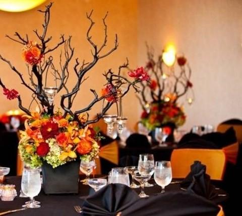 centros-mesa-boda-naranja-y-negro