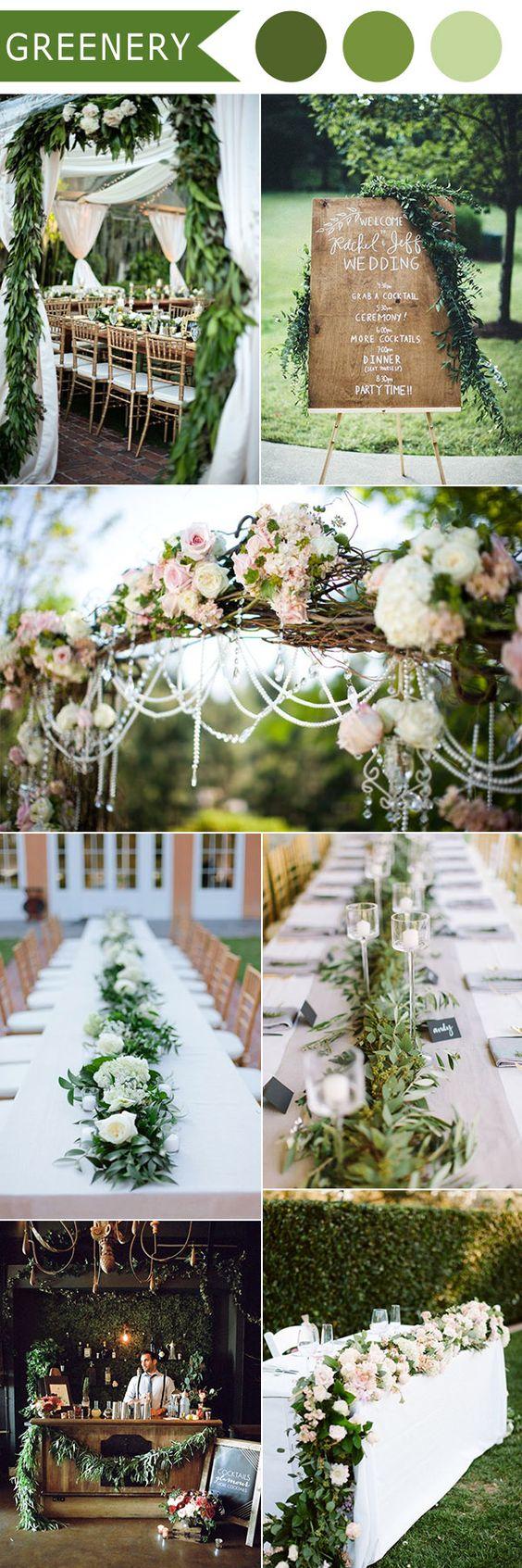 Decoración de boda en Greenery, pantone para el 2017 visto en Pinterest.