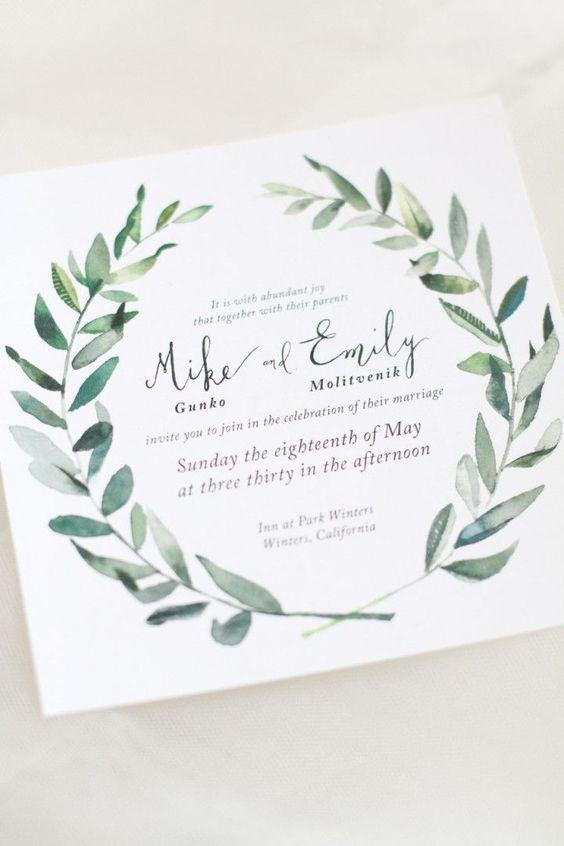 Invitación de boda con olivo en Greenery, pantone para el 2017 visto en Pinterest.