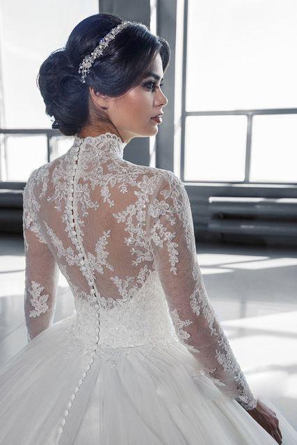 Peinados novia vestido cuello alto