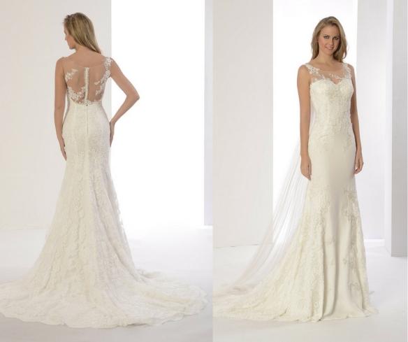 bd1d4721a Vestido de novia Paula de Innovias en crepe con bordados y espalda de tul  tatuaje bordada en venta a precios baratos directo de fábrica.