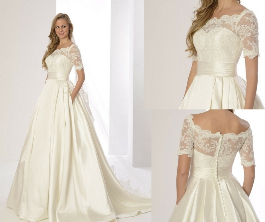 9cf92577b418 Vestido de novia de micado y encaje Priscila de Innovias.