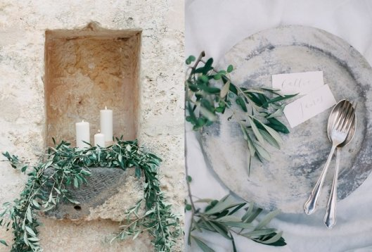 Detalles decorados con olivo. Foto: Brushfire Photography