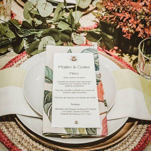 Minuta en el banquete de la boda. Foto: Instagram La Bahía Creativa