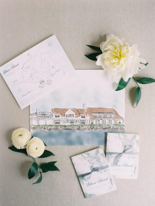 Invitaciones de boda con ilustración. Foto: Abby Jiu Photography