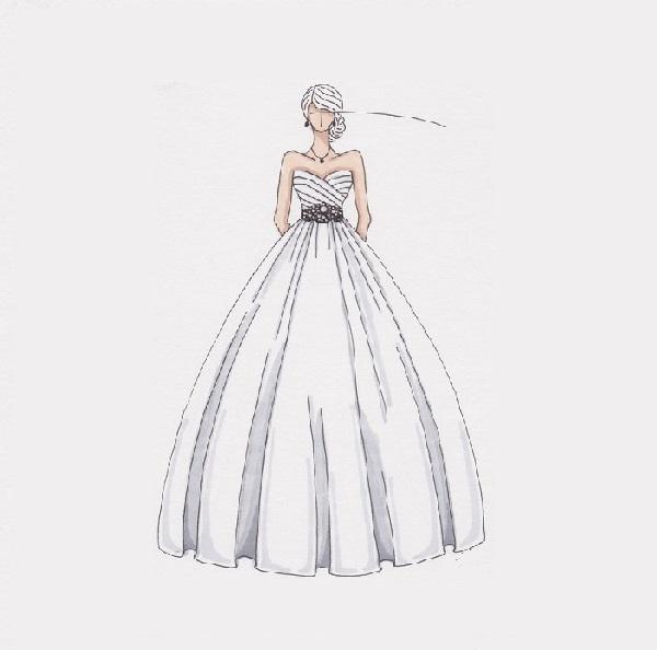 Boceto de vestido de novia estilo princesa