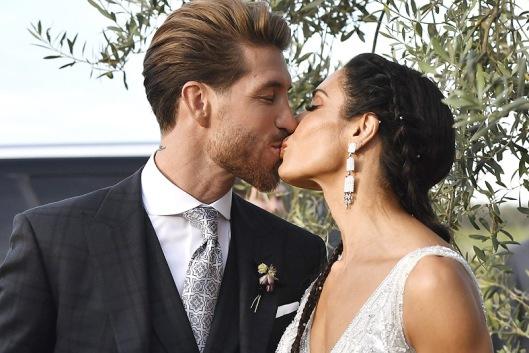 Sergio Ramos y Pilar Rubio en su boda, durante la celebración. Foto: Cordon Press