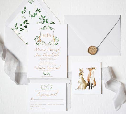 Invitaciones de boda campestres. Foto: Emily Mayne Studio